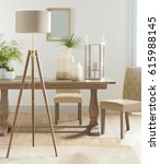 spacious bright sunny living... | Shutterstock . vector #615988145