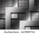 gray chrome metallic mesh.... | Shutterstock . vector #615989741