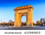 Small photo of Bucharest, Romania. Arcul de Triumf ( Arch of Triumph ) is a triumphal arch located in the northern part of Bucharest, on the Kiseleff Road.