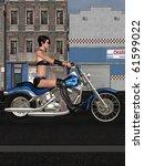 sexy biker girl | Shutterstock . vector #61599022