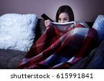 woman watching horror film at... | Shutterstock . vector #615991841