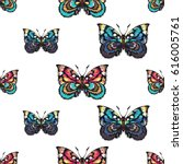 embroidery colorful butterflies.... | Shutterstock .eps vector #616005761