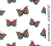 embroidery colorful butterfly.... | Shutterstock .eps vector #616005767