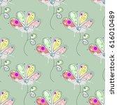 seamless floral pattern hand... | Shutterstock . vector #616010489