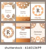 a set of luxury gold brochure... | Shutterstock .eps vector #616013699