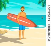 man with surf board on the...   Shutterstock .eps vector #616021079