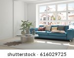white room with sofa and winter ... | Shutterstock . vector #616029725