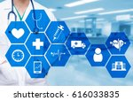 smart doctor with a stethoscope ... | Shutterstock . vector #616033835