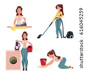 young woman  housewife doing...   Shutterstock .eps vector #616045259