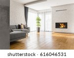 living room with wood flooring  ... | Shutterstock . vector #616046531