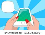 mobile phone in hands with text ... | Shutterstock .eps vector #616052699