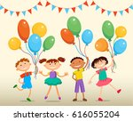school children are jumping... | Shutterstock . vector #616055204