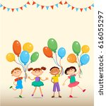 children are jumping with... | Shutterstock . vector #616055297