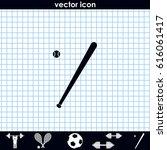flat baseball bat icon. ball...   Shutterstock .eps vector #616061417