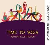 yoga fitness concept. vector... | Shutterstock .eps vector #616064204