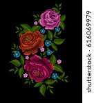 embroidery peonies. ethnic... | Shutterstock .eps vector #616069979