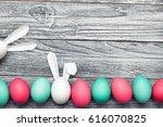 easter eggs on the wooden... | Shutterstock . vector #616070825