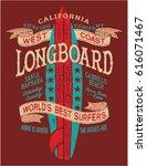 classic longboard surf contest  ... | Shutterstock .eps vector #616071467