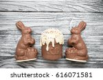 chocolate easter bunnies with... | Shutterstock . vector #616071581