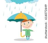 boy with umbrella standing... | Shutterstock .eps vector #616072649
