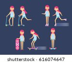 vector illustration of girl ... | Shutterstock .eps vector #616074647