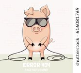 little pink pig in sunglasses... | Shutterstock .eps vector #616081769