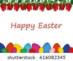 painted easter eggs with a... | Shutterstock .eps vector #616082345