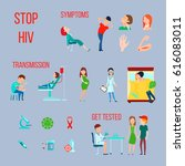 colored flat hiv infection aids ... | Shutterstock .eps vector #616083011