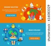 vacation travel flat horizontal ... | Shutterstock .eps vector #616083329