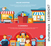 two horizontal ecommerce flyer... | Shutterstock .eps vector #616084247