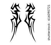 tattoo sketch tribal vector... | Shutterstock .eps vector #616090721
