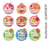 set of lollipop  candy logos ... | Shutterstock . vector #616091879