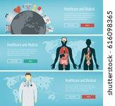 medical banners set. healthcare ... | Shutterstock .eps vector #616098365