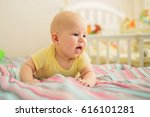 happy boy with opened mouth at... | Shutterstock . vector #616101281