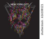 skull print design with... | Shutterstock .eps vector #616108121