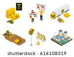 isometric set of radioactive... | Shutterstock .eps vector #616108319