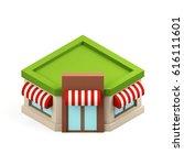 isometric building shop... | Shutterstock . vector #616111601