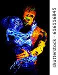body art glowing in ultraviolet ... | Shutterstock . vector #616116845