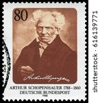 Small photo of Berlin, Germany - Feb.18, 1988: Arthur Schopenhauer (1788-1860), German philosopher, best known for his 1818 work The World as Will and Representation. Stamp issued in 1988 by German Post.