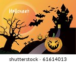 halloween pumpkin background....   Shutterstock . vector #61614013
