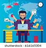 workspace of professional... | Shutterstock .eps vector #616165304