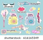 vector stickers on make up... | Shutterstock .eps vector #616165349
