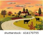 rural landscape with grazing... | Shutterstock .eps vector #616170755