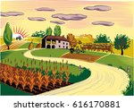 agricultural landscape with... | Shutterstock .eps vector #616170881