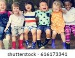 group of kindergarten kids... | Shutterstock . vector #616173341