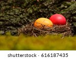 Colorful Red And Orange Eggs...