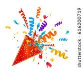 exploding party popper with... | Shutterstock .eps vector #616200719