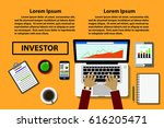 office desk  laptop and other... | Shutterstock .eps vector #616205471