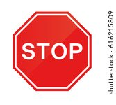 red stop sign isolated on white