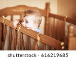 curious infant standing in the... | Shutterstock . vector #616219685